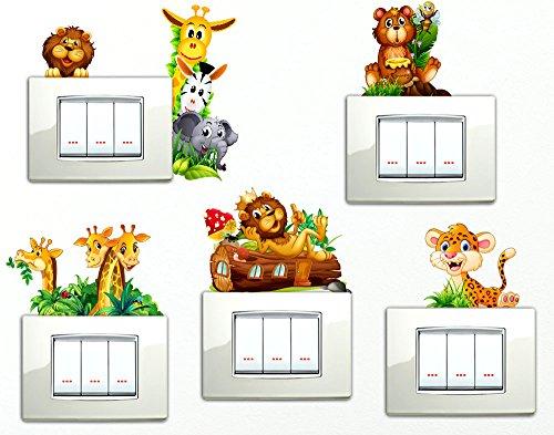 Adesivi Animaletti della savana che si affacciano 6 PEZZI Giraffe Orsetto Leone Simpatici Wall Stickers Simpatico Adesivo Elefantino Zebra Giraffa Leone decorativo Cameretta spine placche Wall Stickers decorativo Adesivi Murali Decorazione Interni