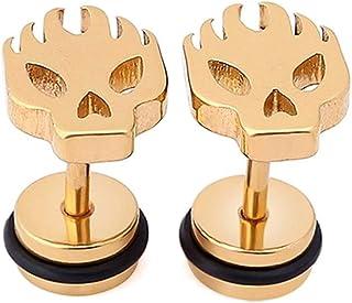 LOGU Skull Earrings Grinning Stud Earrings Halloween Earrings Unisex In-ear Jewelry 1 Pair (Color : Yellow, 样式 style : 1)