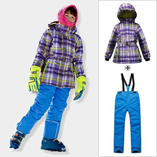 AZUOYI Kids Meisjes Gedrukt Ski Pak Dikke Snowsuit Snowboard & Skiën Outfit Set Ski Jas Ski Bib Broek Set (Jas + broek)