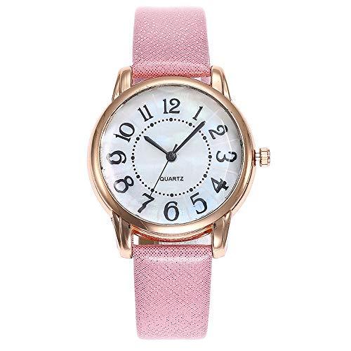 Relojes Para Mujer Relojes de la moda de las mujeres de la moda Reloj de cuero de cuero de cuarzo casual para las mujeres vestido el numero árabe reloj reloj reloj elegante Relojes Decorativos Casuale