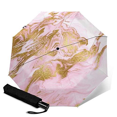 ZEH Premium Windproof Umbrella,Rose Gold Mermaid Marble Travel Folding Automatic tri-fold Umbrella Compact Umbrella Lightweight SunRain Umbrella FACAI