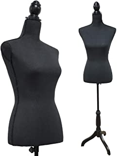 Black Female Dress Form Mannequin Torso Body with Black Adjustable Tripod Stand Dress Jewelry Display