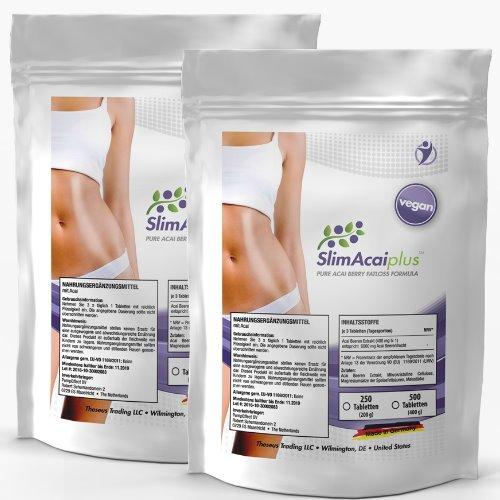 SlimAcai Plus | 1000 vegane Acai Berry Tabletten (2x 500) | 6000mg Tagesportion | Reines Acai Berry Extrakt | Detox + Fettverbrennung + Gewichtsreduktion |Unterstützt die Entschlackung | Premium Qulität