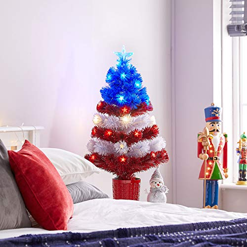 The Winter Workshop - 3ft / 90cm Fibre Optic Artificial Christmas Tree - 80 Stars & Stripes USA Flag Branch Tips & 61 Red, White & Blue LED's
