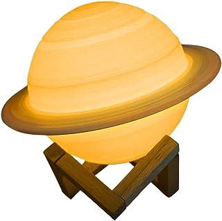 Konesky Lámpara de Luna LED con Impresión 3D, Regalo para Niño, Luz Nocturna Lunar Regulable Recargable USB de 16 Colores con Control Remoto Lámpara de Saturno, 15 cm