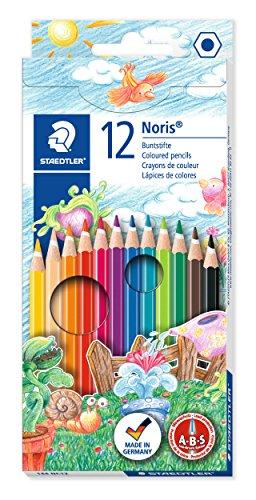 Staedtler Noris 144, Crayons de couleur de haute qualité avec système anti-casse, Mine douce de 3 mm, Étui carton avec 12 couleurs vives différentes, 144 NC12