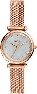 Fossil Women Mini Carlie Stainless Steel and Mesh Casual Quartz Watch