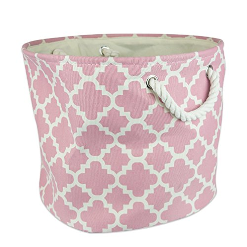 DII Polyester, Collapsible, Convenient Storage Bin For Office, Bedroom, Closet, Toys, Laundry - Large Round, Mauve Lattice