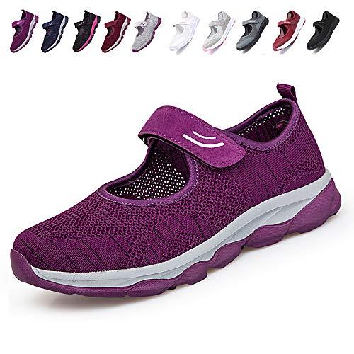 [JIAFO] 安全靴レディース スニーカー 介護シューズ 高齢者シューズ マジックテープ 通気性 柔軟性 軽量 メッシュ 中高齢者靴 ママシューズ 疲れにくい 滑り止めお母さん 婦人靴 看護師(22.5cm~26.0cm) (23.0cm, パープル A