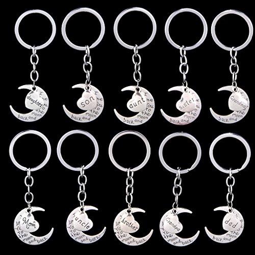 chiwanji Silber Familienname Moon & Herz Schlüsselanhänger Ketten Schlüsselring Weihnachtsgeschenke Bruder
