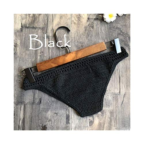 LUOSI Bikini de ganchillo para mujer con parte inferior de bikini de moda, traje de baño de verano, cintura baja, pantalones cortos de playa para niñas (color: negro, tamaño: talla para todos)