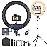 FOSITAN 21-inch Ring Light,【Upgraded】LED Ring Light Kit with 1.9M Tripod Stand and 3 Phone Holders &4 USB Ports, Outer 72W 2900K-6500K Dimmable for YouTube/TikTok/Instagram/Facebook/Selfie/Makeup