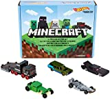 Minecraft Hot Wheels Character Vehicle 5-Pk Collector Set, 1:64 Scale Collectible Cars and Trucks for Play and Display, Gift for Kids Age 3 and Older