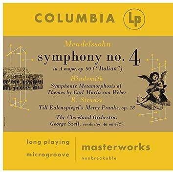 Mendelssohn: Symphony No. 4 - Hindemith: Symphonic Metamorphosis - Strauss: Till Elenspiegel, Op. 28