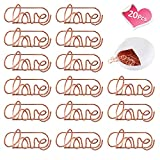 Lovely Heart Shape Small Paper Clips - Cute Paper Clips - Funny Bookmark Marking Clips for Office School Wedding Party Invitation Valentine Decoration - Planner Paperclips (20 pcs) (Love)