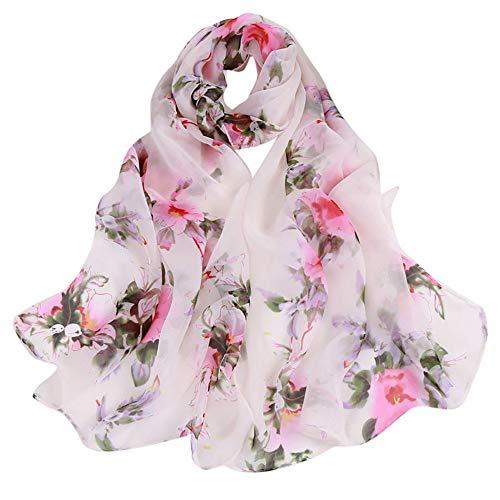 Janly Clearance Sale Bufanda larga y suave para mujer con estampado de flores de melocotón, bufanda (tamaño libre)