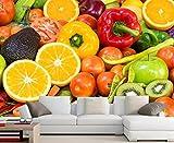 Papier Mural Wallpaper Fruit Vegetables Tomatoes Lemons Wallpapers Coffee Shop Restaurant dinig Room Kitchen wallpaper-3D_350x245cm