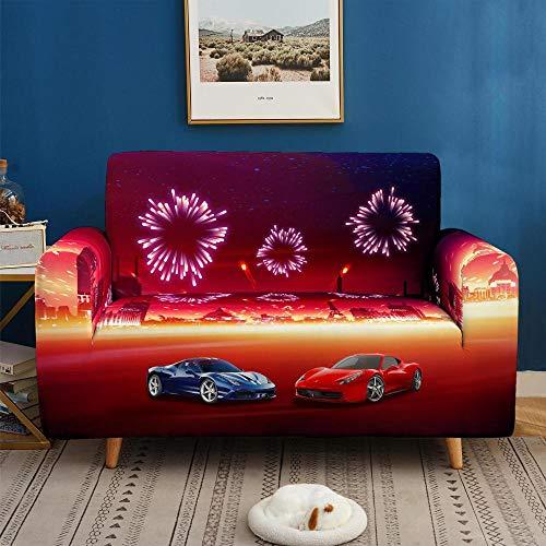 3D Funda de Sofá Elástica Funda Sofá Gruesa Antideslizante, Cubierta Sofa Muebles con Cuerda de Fijación Antideslizante Protector de Muebles (Coche Deportivo de Fuegos Artificiales, 2 Plazas )
