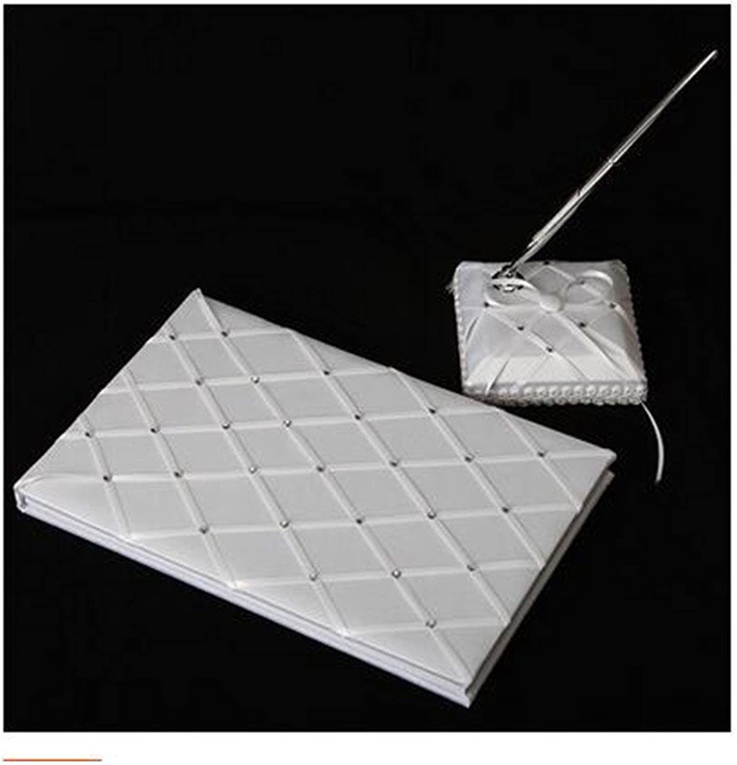 European Wedding Goods Wedding Attendance Book Pure White Rhombus Plaid Button Autograph Album with Sign Pen