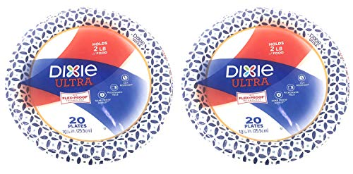Dixie Ultra Paper Plates, 10 1/16', 20 count, Dinner Size Printed Disposable Plates (Pack of 2)