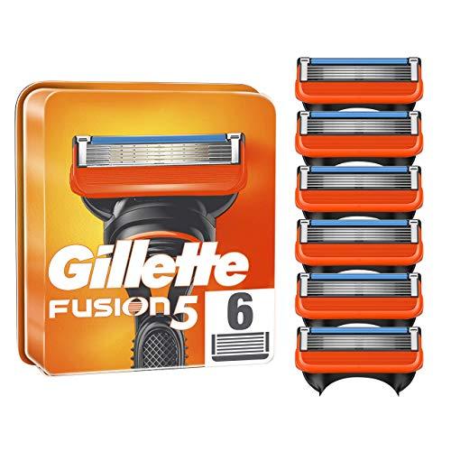 Gillette Lames de Rasoir Homme Fusion5, Pack de 6 Lames de Recharges [OFFICIEL]