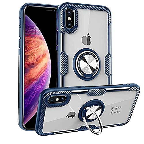 MOVOYEE Case for iPhone XR Case Cute iPhone XR Clear Case with Design for Women Men,iPhone XR Phone Case iPhone XR iPhone Case XR Cover,Silicone iPhone XR Case with Stand Ring Magnetic 6.1 Inch-Blue