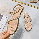 2021 Women's Sandals New Rome With Pearl Flat Bottom Casual And Comfortable Net Celebrity Travel Trend Women's Shoes Size