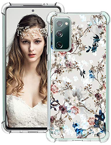 S20 FE 5G Case for Samsung Galaxy S20 FE 5G Case Clear Floral Flower Pattern Design Case with Reinforced Corners Silicone Slim Flexible TPU Bumper Shockproof Cover for Samsung Galaxy S20 FE 5G Pink