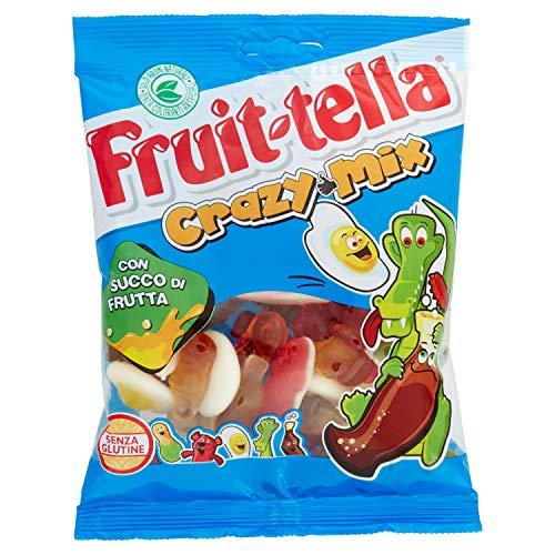 Fruittella Crazy Mix Caramelle Gommose, Gusto Frutti Assortiti con Succo di Frutta, senza Glutine, Formato Busta da 175 g