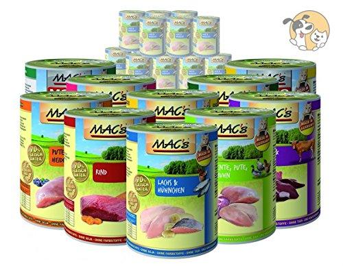 MACs Mac´s Katze Sparpaket | 48 x 400g | Sorten frei wählbar | Nassfutter gratis Katzenspielzeug