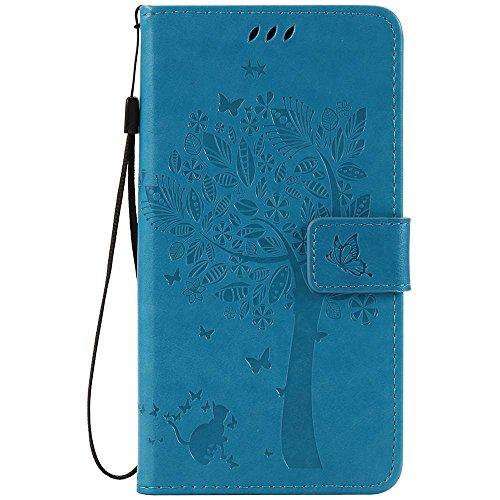 C-Super Mall-UK® Wiko Slide 2 hülle: Geprägte Baum Katzen-Schmetterlings-Muster PU-Leder-Mappen-Standplatz -Schlag-hülle für Wiko Slide 2(blau)