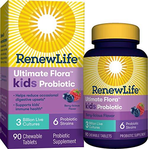 Renew Life Kids Probiotics 3 Billion CFU Guaranteed, 6 Strains, Shelf Stable, Gluten Dairy & Soy Free, 90 Chewable Tablets, Ultimate Flora Kids Probiotics Berry-licious