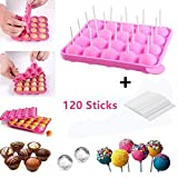BPA Free Pop Cake Moulds & Ice Cube Trays + 120 Sticks Silicone Lollipop Candy Gumdrop Jelly Molds- Pink