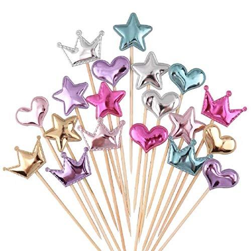 Coriver 75Pcs Cupcake Toppers Muffin Dekoration Stern Herz Krone Cupcake Topper Alles Gute zum Geburtstag Kuchen Dekoration Glänzende Farbstifte für Kinder Party Geburtstag Hochzeit Versorgung