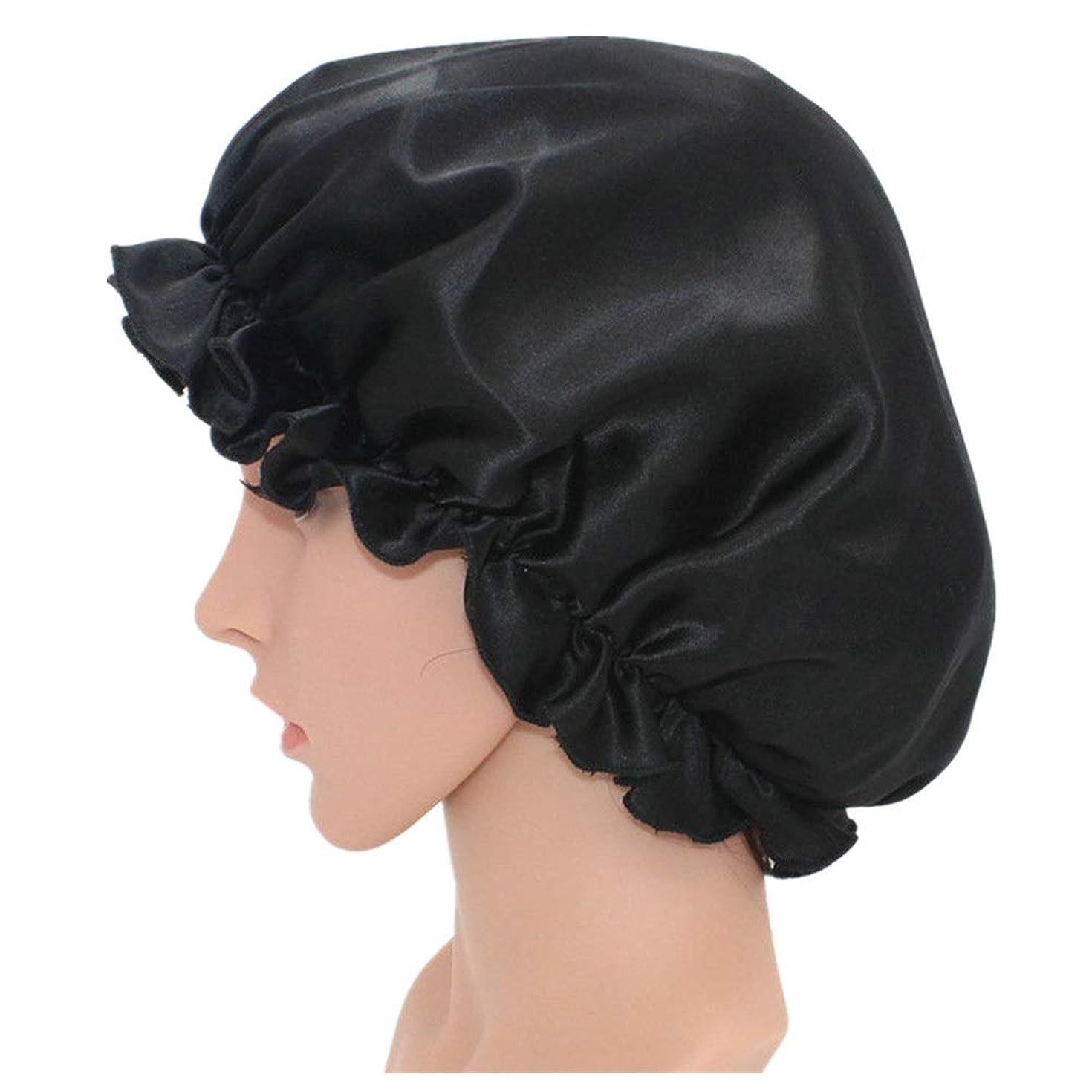 ポルノラオス人ペレット弾性スリーピングキャップ 調節可能な伸縮性があるリボンが付いている柔らかい帽子を眠っている脱毛の女性のためのシルクの睡眠の帽子の無地のボンネット (色 : ブラック, サイズ : Free size)