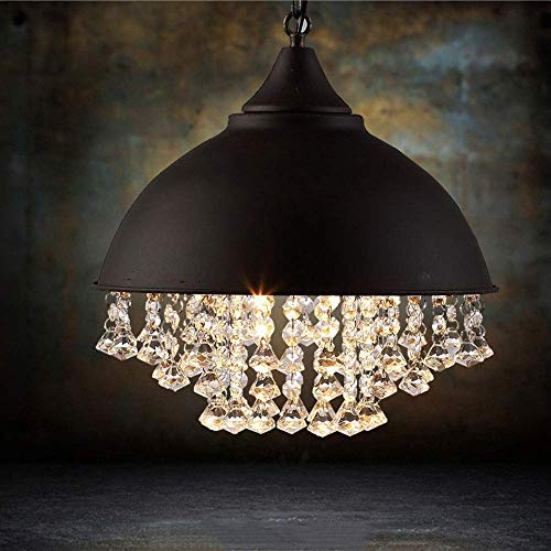 XiYou Lámpara de araña, artesanía Retro, lámpara Colgante de Cristal Industrial Americana...