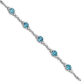 925 Sterling Silver Lt. Swiss Blue Topaz Diamond Bracelet 7.50 Inch Gemstone Fine Jewelry Gifts For Women For Her