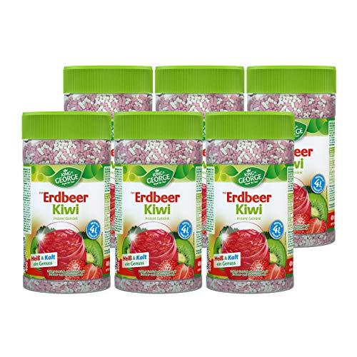 KING GEORGE - Royal Tea Time, Erdbeer-Kiwi Instantgetränk 6 x 400 g, Heiß & Kalt ein Genuss, Instantteegetränk mit Erdbeer-Kiwi Geschmack, ergibt bis zu 4 l