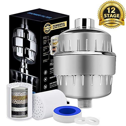 Duschfilter Shower Filter Universal Duschfilter Shower Filter, mit Extra-Ersatz Filter Kartusche&Teflonband, entfernen Chlor,Schwermetalle,Wasser erweichen.