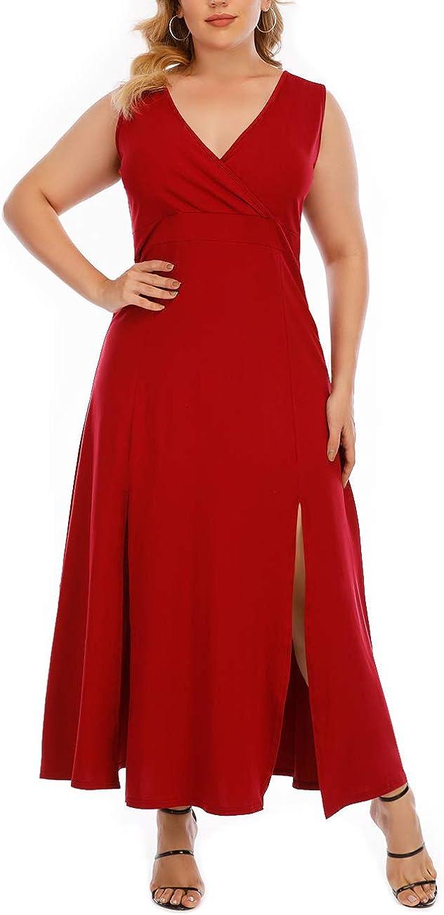 GXLU Women's Plus Size Sleeveless Deep V Neck Front Split Long Maxi Wrap Dress