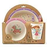 ORNAMI 5-teiliges Bambus-Geschirrset für Kinder, Fee Design - Kinder-Geschirrset mit Teller, Kleinkindbesteck, Bambusfaser Schale und Kinderbecher - umweltfreundlich, BPA-frei und spülmaschinenfest
