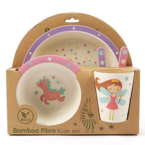 ORNAMI 5-Piece Bamboo Dinner Set for Children, Fairy Design - Kids Dinner Set Includes Round Bamboo Plate, Toddler Cutlery, Bamboo Bowl and Kids Cup - Eco Friendly, BPA Free and Dishwasher Safe