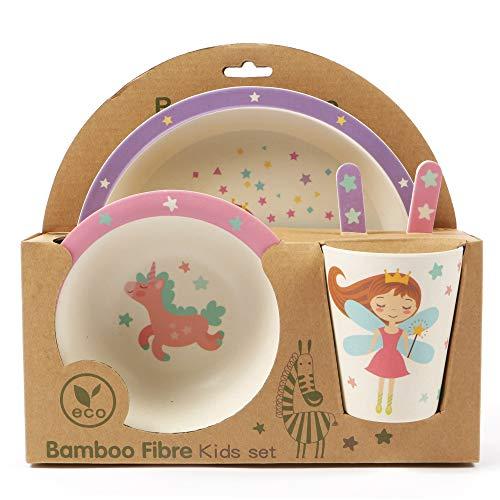 ORNAMI Set Vajilla de bambú para niños, 5 Piezas, diseño de Hada - El Set Incluye un Plato, Cubiertos, un tazón y un Vaso - Respetuoso con el Medio Ambiente, sin BPA y Apto para lavavajillas