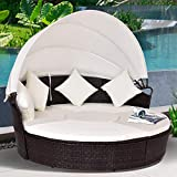 Tangkula Patio Daybed, 73' Diameter Outdoor Lawn Backyard Poolside Garden Round Sofas with Retractable Canopy, Wicker Rattan Round Daybed, Seating Separates Cushioned Seats (Beige)