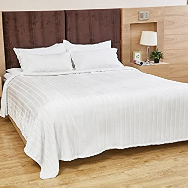 Bertte Ultra Velvet Plush Super Soft Decorative Stripe Throw King Size Bed Blanket- 102 x 90 , Ivory White