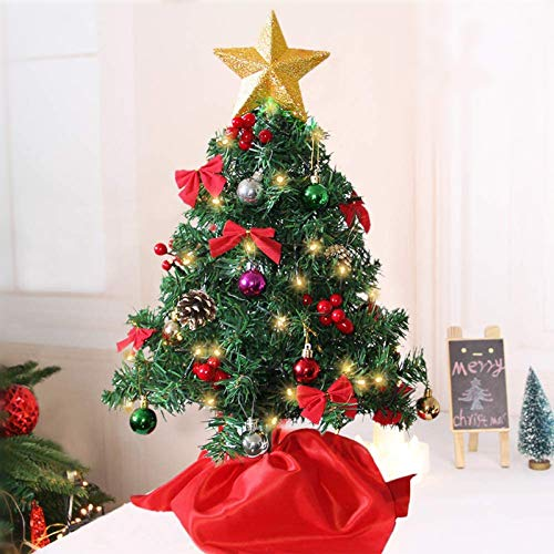 Juegoal 24 Inch Mini Christmas Tree, Table Top Artificial Christmas Trees with 50 LED Lights, Tree Topper, Red Berries