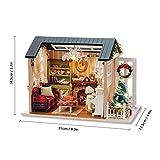 Decdeal DIY Puppenhaus 3D Holz Miniaturhaus Kit mit LED Licht Kunsthandwerk Geschenk für Valentinstag, Kindertag, Weihnachten, Hochzeit, Geburtstag - 3