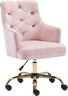 AOLI Silla de escritorio chaise moderno de Ministerio del Interior de terciopelo con base de metal de oro con el centro de la espalda linda ergonómico escritorio de la computadora silla de la tarea S