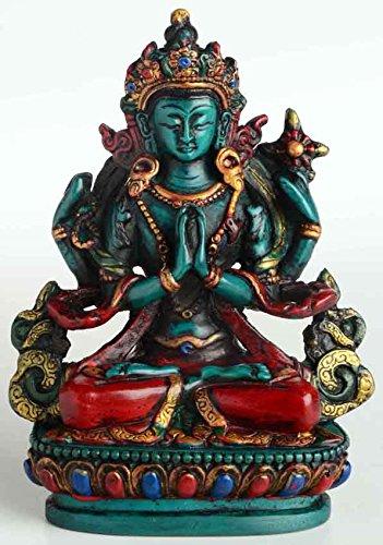 BUDDHAFIGUREN/Billy Held Chenrezig tibetischer Buddha und Schutzheiliger Tibets 11 cm hoch aus Giesharz türkis bemalt Figur Handarbeit aus Nepal