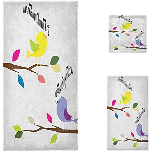 Birds Oversized Bath Towels, Cute Colorful Birds Singing on Tree Best Happiness Mascots Artsy Humor Illustration Soft Hotel Quality Towel Perfect for Daily Use